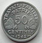 Photo numismatique  Monnaies Monnaies Françaises Etat Français 50 Centimes 50 centimes Bazor 1942, G.425 SUPERBE à FDC