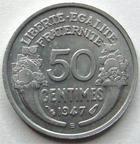 Photo numismatique  Monnaies Monnaies Françaises 4ème république 50 Centimes 50 Centimes Morlon 1947 B, G.426b SUPERBE +