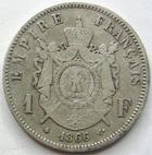 Photo numismatique  Monnaies Monnaies Françaises Second Empire 1 Franc NAPOLEON III, 1 franc tête laurée 1866 BB Strasbourg, G.463 TB+