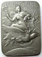 Photo numismatique  Monnaies Médailles Chambre de commerce de Roubaix Plaquette en argent ROUBAIX, chambre de commerce, plaquette en argent, 48x35 mm, poiçon corne 1 argent, 42.93 grammes, SUPERBE