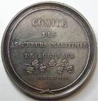 Photo numismatique  Monnaies Jetons Jeton d'assurance Assurances Maritimes BORDEAUX, 1849, comité des assureurs maritimes, jeton rond en argent, poinçon Main, gravé par Rogat, gail.159 TTB+ Rare!