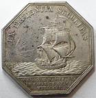 Photo numismatique  Monnaies Jetons Jeton d'assurance Assurances Maritimes HAVRE de GRACE, Louis XVIII, jeton octogonal en argent, 1816, sans poinçon, gravé par Andrieu F., Gail.393 TTB à SUPERBE Rare!