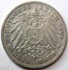 Photo numismatique  Monnaies Monnaies étrangères Allemagne Baden 3 Mark, Drei mark Allemagne, Deutschland, Baden, 3 mark 1909 G, Friedrich II grossherzog, J.39 TB à TTB
