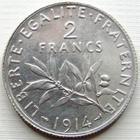 Photo numismatique  Monnaies Monnaies Françaises Troisième République 2 Francs 2 francs Seumeuse de Roty, 1914, G.532 SUPERBE à FDC