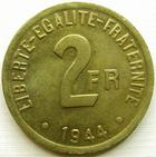 Photo numismatique  Monnaies Monnaies Françaises Etat Français 2 francs France libre 2 francs France libre 1944, Philadelphie, G.537 presque SUPERBE, beau brillant d'origine!