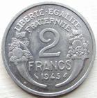 Photo numismatique  Monnaies Monnaies Françaises Gouvernement Provisoire 2 Francs 2 francs Morlon, 1945, Aluminium, G.538a SUPERBE+
