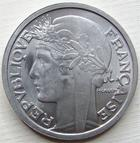 Photo numismatique  Monnaies Monnaies Fran�aises Cinqui�me R�publique 2 Francs 2 francs Morlon 1959, Aluminium, G.538c SUPERBE+