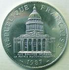 Photo numismatique  Monnaies Monnaies Fran�aises Cinqui�me R�publique 100 francs Panth�on 100 francs Panth�on 1987, G.898 SUPERBE+