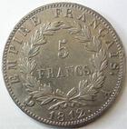 Photo numismatique  Monnaies Monnaies Françaises 1er Empire 5 Francs NAPOLEON Ier, 5 francs 1812 A Paris, G.584 TTB/TTB+