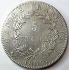 Photo numismatique  Monnaies Monnaies Françaises 1er Empire 5 Francs NAPOLEON Ier, 5 francs 1809 L Bayonne,G.584, léger paillage sur la joue, légères traces de néttoyage sinon Presque SUPERBE