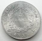 Photo numismatique  Monnaies Monnaies Françaises Consulat 5 Francs BONAPARTE premier consul, 5 francs AN XI L tête de Lion, certainement le plus bel exemplaire connu!! Rare!R!