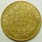 Photo numismatique  Monnaies Monnaies Française en or Second Empire 10 Francs or NAPOLEON III, 10 francs or 1864 BB Strasbourg, G.1015 TB+