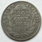 Photo numismatique  Monnaies Monnaies Françaises Second Empire 20 Cmes NAPOLEON III, 20 centimes non lauré 1854 A Chien, G.305 TB