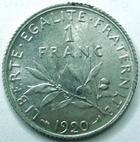 Photo numismatique  Monnaies Monnaies Françaises Troisième République 1 Franc 1 Franc Semeuse de Roty, 1920, G.467 SUPERBE+