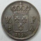 Photo numismatique  Monnaies Monnaies Fran�aises Charles X 1/4 de Franc CHARLES X, 1/4 de franc 1829 A Paris, G.353 SUPERBE