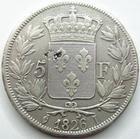 Photo numismatique  Monnaies Monnaies Françaises Charles X 5 Francs CHARLES X, 5 francs 1826 I Limoge, G.643 Paillage au revers, TB+