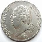 Photo numismatique  Monnaies Monnaies Fran�aises Louis XVIII 5 Francs LOUIS XVIII, 5 francs 1823 A Paris, G.614 TTB