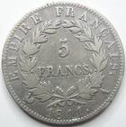 Photo numismatique  Monnaies Monnaies Françaises 1er Empire 5 Francs NAPOLEON Ier, 5 francs 1811 A, 11 espacé!, G.584 TB à TTB