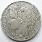 Photo numismatique  Monnaies Monnaies Françaises Deuxième République 5 Francs 5 francs Cérès 1849 A Main-Chien, G.719 TTB