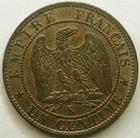 Photo numismatique  Monnaies Monnaies Fran�aises Second Empire 1 Centime NAPOLEON III, 1 centime non laur� 1854 K Bordeaux, G.86 SUPERBE