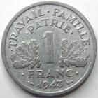 Photo numismatique  Monnaies Monnaies Françaises Etat Français 1 Franc 1 franc bazor 1943 B, G.471 TB à TTB