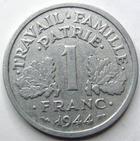 Photo numismatique  Monnaies Monnaies Françaises Etat Français 1 Franc 1 franc Bazor 1944 C, G.471 TTB