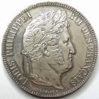 Photo numismatique  Monnaies Monnaies Fran�aises Louis Philippe 5 Francs LOUIS PHILIPPE, 5 francs 1834 W Lille, G.678 SUPERBE
