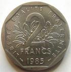 Photo numismatique  Monnaies Monnaies Fran�aises Cinqui�me R�publique Pi�fort de la 2 francs Semeuse Pi�fort d la 2 francs Semeuse de Roty 1985 en argent, 100 exemplaires, G.89/474P petits coups sur tranche sinon FDC