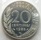 Photo numismatique  Monnaies Monnaies Françaises Cinquiéme République Piéfort de la 20 centimes Lagriffoul  Piéfort de la 20 centimes Lagriffoul (Marianne) 1985 en argent, 100 exemplaires, G.89/332P FDC