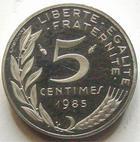 Photo numismatique  Monnaies Monnaies Fran�aises Cinqui�me R�publique Pi�fort du 5 centimes Lagriffoul Pi�fort du 5 centimes Lagriffoul (Marianne) 1985 en argent, 100 exemplaires, G.89/174P qualit� belle �preuve