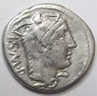 Photo numismatique  Monnaies République Romaine Thoria 105 avant Jc Denier, denar, denario, denarius L.THORIUS BALBUS, Denier 105 avant Jc, Taureau chargeant à droite, 3.84 grammes, RSC.Thoria 1 TTB