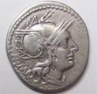 Photo numismatique  Monnaies République Romaine Tullia 120 av Jc Denier, denar, denario, denarius M.TULLIUS, Denier 120 avant Jc, quadrige conduit par une victoire, 3.79 grammes, RSC.Tullia 1 TTB