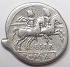 Photo numismatique  Monnaies R�publique Romaine Scribonia 154 av Jc Denier, denar, denario, denarius C.SCRIBONIUS, Denier 154 avant Jc, les Dioscures � droite, 3.57 grammes, RSC.Scribonia 1 TTB