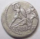 Photo numismatique  Monnaies République Romaine Minucia 103 av Jc Denier, denar, denario, denarius Q.THERMUS Mf, Denier 103 avant Jc, scène de combat, 3.87 grammes, RSC.Minucia 19 TTB+