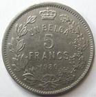 Photo numismatique  Monnaies Monnaies étrangères Belgique 5 Francs Belgique, 5 francs 1930, Albert, KM.97.1 TTB+