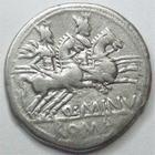 Photo numismatique  Monnaies R�publique Romaine Minucia 122 avant Jc Denier, denar, denario, denarius Q.MINUCIUS RUFUS, Denier 122 avant Jc, les Dioscures, 3.83 grammes, RSC.Minucia 1 TTB