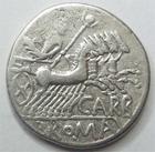 Photo numismatique  Monnaies R�publique Romaine Papiria 121 avant Jc Denier, denar, denario, denarius Cn.CARBO, Denier 121 avant Jc, jupiter conduisant un quadrige, 3.85 grammes, RSC.Papiria 7 TB � TTB