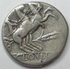 Photo numismatique  Monnaies R�publique Romaine Cloulia 128 av Jc Denier, denar, denario, denarius T.CLOELIUS, Denier 128 avant Jc, Bige, 3.08 grammes, RSC.Cloulia 1 TTB/TB+