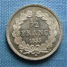Photo numismatique  Monnaies Monnaies Françaises Louis Philippe 1/2 Franc LOUIS PHILIPPE Ier 1/2 Franc 1833 B Rouen, Gadoury 408 bel exemplaire SUPERBE à FDC