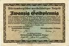 Photo numismatique  Billets Billets étrangers Allemagne, Deutschland, Stuttgart 20 Goldpfennig Allemagne, Deutschland, Stuttgard, 20 goldpfennig 23.11.1923, L.S118.1 TB à TTB