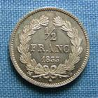 Photo numismatique  Monnaies Monnaies Françaises Louis Philippe 1/2 Franc LOUIS PHILIPPE Ier, 1/2 Franc 1833 B Rouen, Gadoury 408 Superbe à Fleur de coin, bel exemplaire !!!