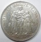Photo numismatique  Monnaies Monnaies Françaises Troisième République 5 Francs 5 francs Dupré 1875 A Paris, G.745a petit coup sur tranche sinon TTB+
