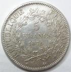 Photo numismatique  Monnaies Monnaies Fran�aises Troisi�me R�publique 5 Francs 5 francs Dupr� 1875 A Paris, G.745a petit coup sur tranche sinon TTB+