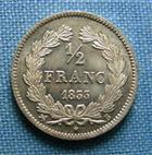 Photo numismatique  Monnaies Monnaies Fran�aises Louis Philippe 1/2 Franc LOUIS PHILIPPE Ier, 1/2 Franc 1833 B Rouen, Gadoury 408 Superbe + Jolie monnaie!!