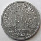 Photo numismatique  Monnaies Monnaies Françaises Etat Français 50 Centimes 50 centimes Bazor 1943 B, G.425 TTB R!