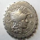 Photo numismatique  Monnaies République Romaine Pomponia 118 av Jc Denier, denar, denario, denarius L.POMPONIUS Cn., Denier 118 av Jc, Bige, 3.71 grammes, RSC.Pomponia 7, TTB