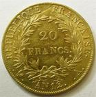 Photo numismatique  Monnaies Monnaies Française en or 1er Empire 20 Francs or NAPOLEON Ier, 20 francs or AN 12 A, Revers république, G.1021 TTB+ Rare!