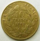 Photo numismatique  Monnaies Monnaies Française en or Second Empire 10 Francs or NAPOLEON III, 10 francs or lauré 1863 A, G.1015 TB à TTB