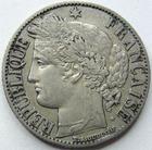 Photo numismatique  Monnaies Monnaies Françaises Troisième République 1 Franc 1 Franc Cérès 1872  petit A, G.465a TTB
