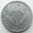 Photo numismatique  Monnaies Monnaies Françaises Etat Français 1 Franc 1 franc Bazor 1943 B, Aluminium, G.471 Néttoyée sinon TTB R!